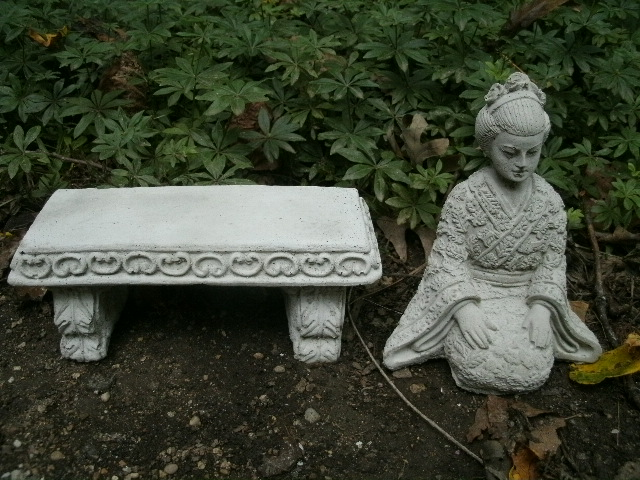 Beautiful Small Cement Geisha Girl Bench Pair Garden Art Concrete Asian Statue Ebay