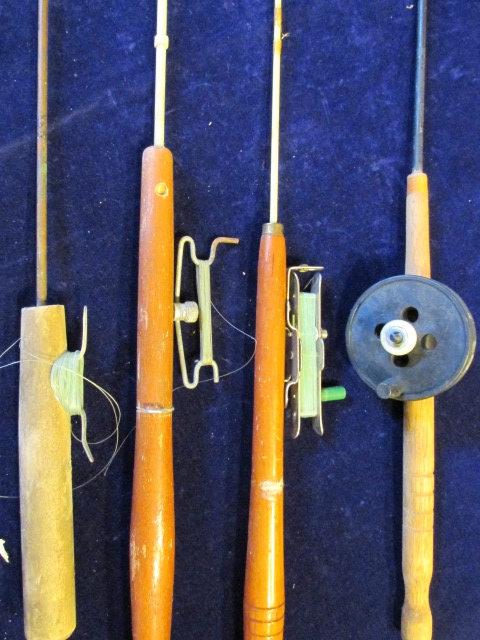 vintage ice fishing rod pole lot of 4 target bay city