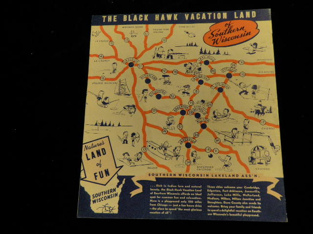 Vintage 1930amp039s1940amp039s Southern Wisconsin Travel Brochure – Wisconsin Travel Map